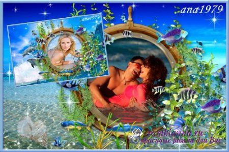 Рамка для фото с двумя морскими фонами/Picture frame with two marine backgrounds